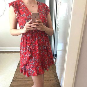 Wildfire red floral dress for spring